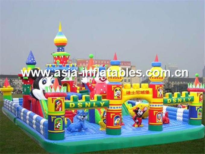 Inflatable Roung Playground With A Towen In Center For Chilren Amusement Park