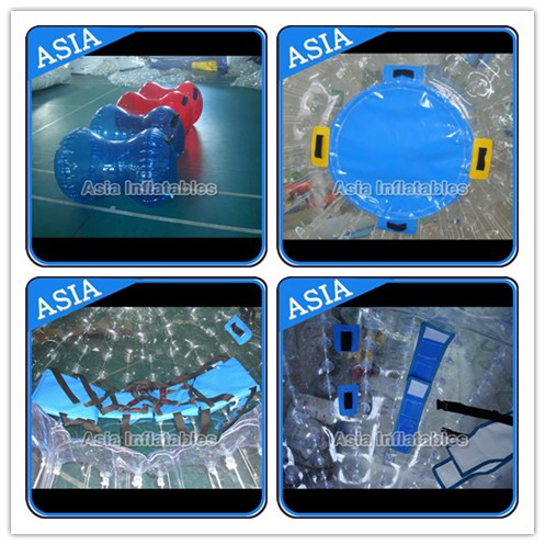 Ce Certificated Transparent Inflatable Zorb Ball In Clear With Color Stirps