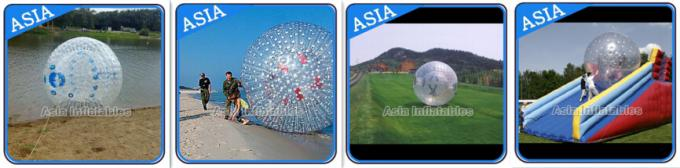0.8mm Pvc Clear Inflatable Water Zorb Ball With Double Entrance For Adult