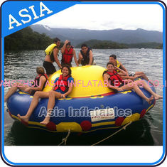 चीन Sealed 3m Inflatable Floating Spin Water Disco Boat For 8 Person Blue / Yellow फैक्टरी