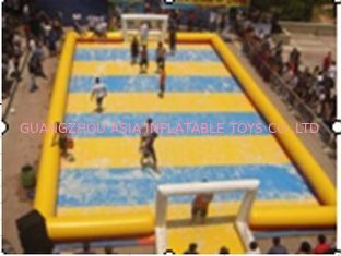 चीन Children Inflatable Soccer Field / Inflatable Football Pitch For Coaching फैक्टरी