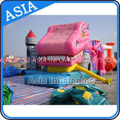 चीन Lovely Inflatable Pink Snappy Dragon Bouncy Castle For Backyard Games फैक्टरी