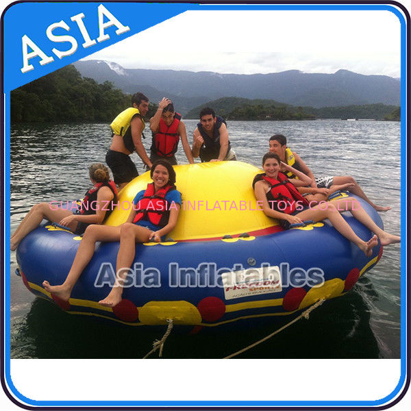 Sealed 3m Inflatable Floating Spin Water Disco Boat For 8 Person Blue / Yellow आपूर्तिकर्ता