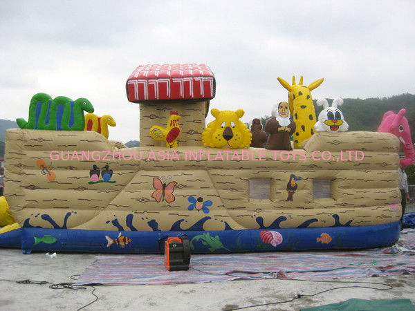 Inflatable Ship Playground With Cartoon Animals For Kids Amusement आपूर्तिकर्ता