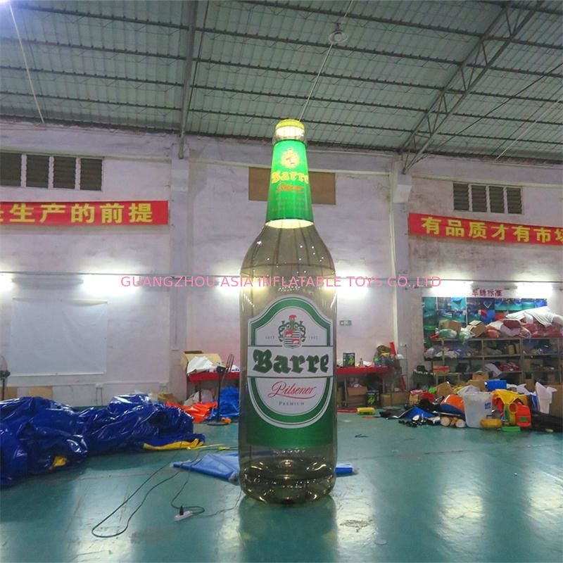 4m High Advertising Inflatables / Brown Inflatable Beer Bottle With Lighting