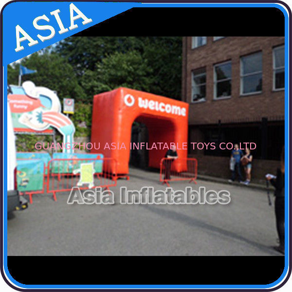 Orange Square Welcome Inflatable Arch Entrance Gate For Park आपूर्तिकर्ता