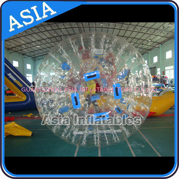0.8mm Pvc Clear Inflatable Water Zorb Ball With Double Entrance For Adult आपूर्तिकर्ता