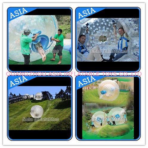 Customized Transprent Inflatable Zorbing Ball , Used Grass Zorb For Adult आपूर्तिकर्ता